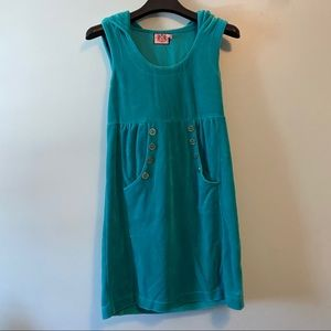 Juicy Couture Teal Terry Hooded Dress S
